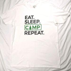 New Eat Sleep Camp Repeat Tee Large